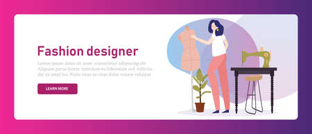 Fashion designer tailor. Girl working with sewing machine garment clothing dress maker in creative studio stylish. Banner vector illustration.