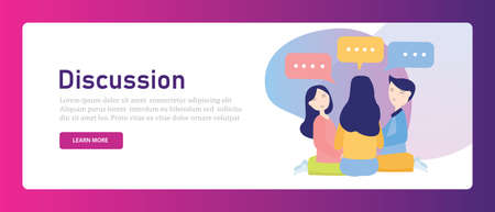 discussion between friend or coworkers speak gossip. Colleagues brainstorming having conversation together male female. speech bubble. Vector illustration