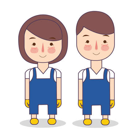 cleaning service uniform. Illustration of staff wearing maintenance blue clothes and yellow gloves. Hotel housekeeper. Vector illustration of people occupation cartoon character