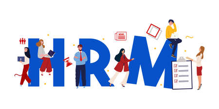 Wood letters of HRM and definition concept of human resource management. Employee team working on system software. Vector illustration Иллюстрация