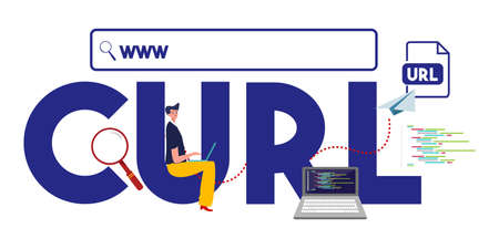 CURL www internet address URL format website. Vector