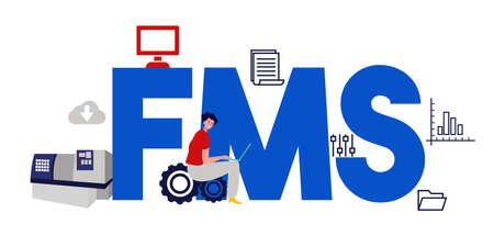 FMS Fleet management system. Factory operation software. Vector illustration  イラスト・ベクター素材