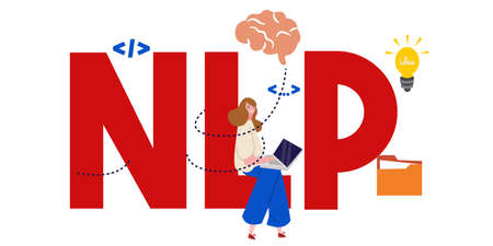 Neuro-linguistic programming NLP vector illustration concept wit icons and words. Vector illustration Çizim