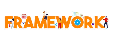Framework technology web development software. Concept of engineering programming information.