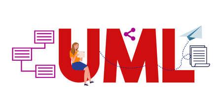 UML Unified Modeling Language. System flow visual communication documentation. Vector illustration. Çizim