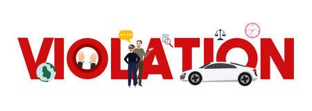 Violation illegal theft crime legal case. traffic car verdict.vector illustration. Illusztráció