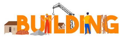 Building construction team work house crane worker. Vector illustration. Banque d'images - 131152106