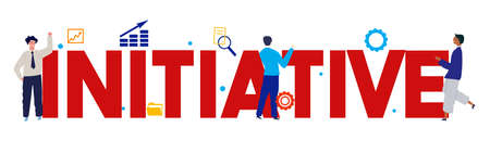 initiative word large text with employee worker working on business. vector illustration flat