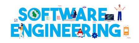 Software engineer programming code software developer. Computer script programmer. Vector illustration