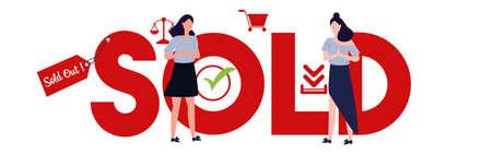 Sold out vector illustration of large text woman female standing symbol icon cart. Illusztráció