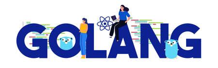 Golang programming languages. Large text concept of code development development programmer. Vector illustration. Illusztráció