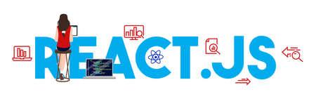 React.js coding computer Language, Javascript, Internet components vector illustration.