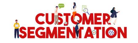market segmentation method by various attribute business man team working large text vector flat illustration