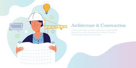Architectuur en constructie. Concept van architect die tekenpapier vasthoudt op de bouwplaats met helm en kraanvector Vector Illustratie