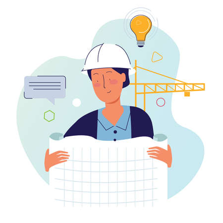 Architect holding drawing paper in construction site with helmet and crane vector Banque d'images - 131152162