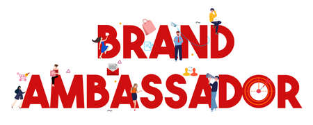 brand ambassador large text concept of influencers representing product or company as a person for public communication marketing. Vector illustration