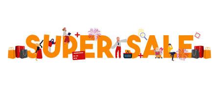 super sale special discount market event promotion. Large text concept of shopping advertising ecommerce. vector illustration Illusztráció