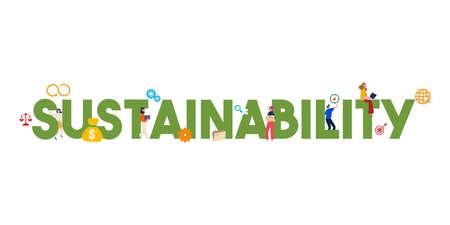Concept de durabilité de la bannière. Illustration vectorielle de la société, de l'environnement et de l'économie. Stratégie de développement durable. Illustration vectorielle.