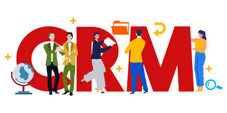 CRM Customer Relationship Management vector illustration. Customer and company interaction approach.