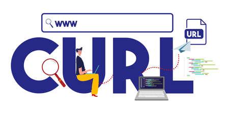 CURL www internet address URL format website. Vector
