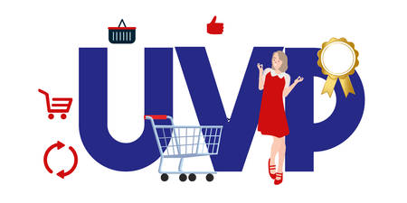 Unique Value Proposition - UVP text concept about marketing strategy to cunsumer. Vector illustration.