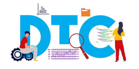 DTC Direct-to-Consumer-Marketingprozessstrategie. Handelskonzept im Handel. Vektor-Illustration Vektorgrafik