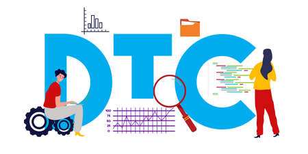 DTC Stratégie de processus de marketing direct auprès des consommateurs. Concept de commerce dans le commerce. Illustration vectorielle Vecteurs