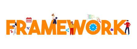 Framework technology web development software. Concept of engineering programming information. Vector illustration Illusztráció