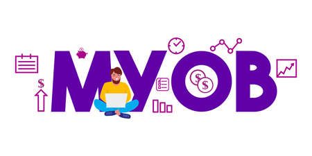 MYOB mind your own business. Accounting software. Vector illustration of text and people around. Çizim