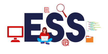 ESS Employee Self Service or executive spreadsheet support. concept of software or system for human resource service. Vector illustration