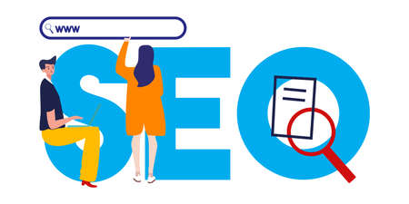 SEO search engine optimization. Illustration of man and woman optimize website visibility in search engine. Large text and magnifier. Vector illustration