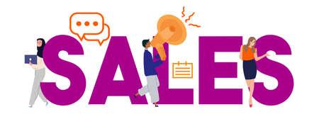 Business sales team work revenue shares concept selling marketing. Vector illustration
