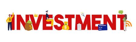 Investment large text. Flat design concepts for business, finance, strategic management, teamwork. Vector illustration