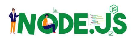 node js framework javascript programming language flat design illustration vector Illustration