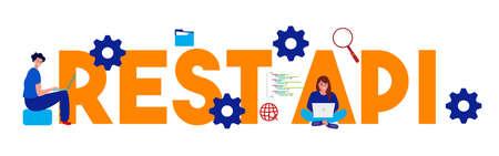 Representational State Transfer REST API - Application program interface words. Vector large text illustration Illustration