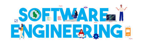 Software engineer programming code software developer. Computer script programmer. Vector illustration flat Ilustrace