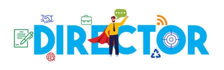 Director or Board of Directors corporate, business concept movie producer working professional. Vector illustration flat. Illusztráció