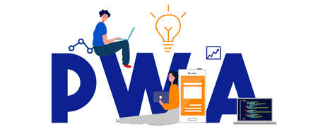PWA Progressive Web App, the latest website applications technology with fast loading offline service worker caching vector Foto de archivo - 131152224