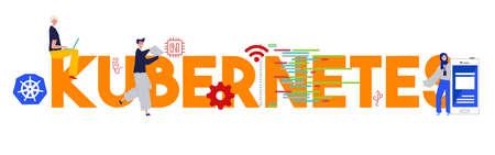 Kubernetes programming language tools technology development software. Vector illustration flat Illustration