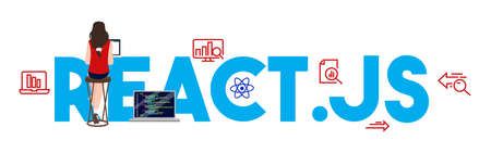 React.js coding computer Language, Javascript, Internet components vector illustration flat.