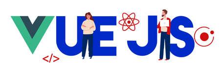 Vue.js coding computer Language, Javascript, Internet components vector flat illustration.