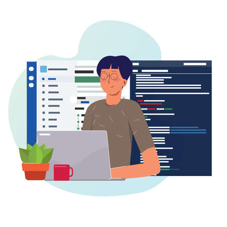 Programmer working writing code on laptop with line of code programming language on screen. Иллюстрация