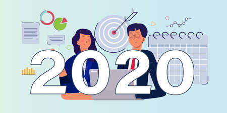 2020 business target goal in calendar. Business man team meeting working on new year resolution for company corporate vision. Vector illustration