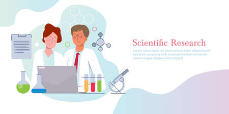 Scientific research. Concept of science discovery in laboratory vector illustration gradient flat
