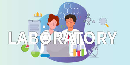 laboratory sign large text. Concept of laboratory with scientist or chemist working on lab wearing white laboratory uniform. Male and female working together with laptop microscope test tube chemistry Иллюстрация