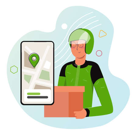 Courier from motorcycle ride-hailing service in Indonesia sending box of food to customer. Wearing green jacket and helmet with smart phone app with map pointer