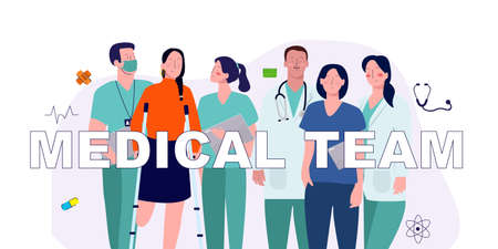 doctor and medical team together with the patient standing together vector graphic illustration Иллюстрация