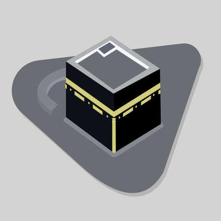Vector. Isolated illustration of empty Kaaba, Mekka. Saudi Arabia. Islamic sacred mosque Al Haram.