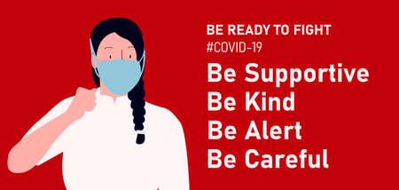 Be ready to fight Corona virus, or Covid-19. Spirit woman ready wearing mask