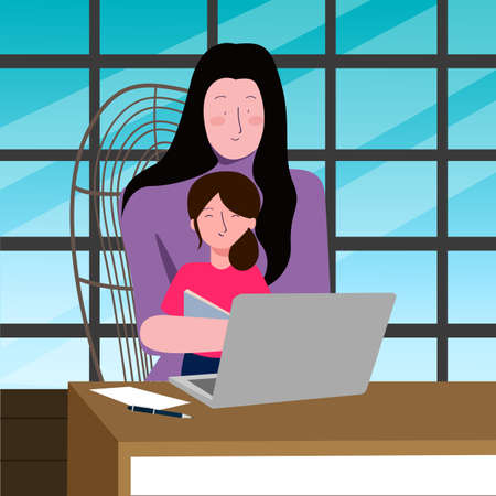 A vector illustration of a mother working on a laptop while holding her kids. Working from home during pandemic Ilustração
